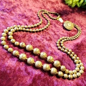 Antique Textured Brass Ball Double Strand Necklace